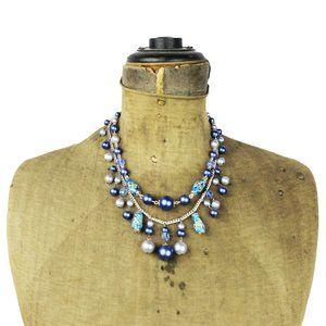 Blue Glass Bead Double Strand Fringe Necklace